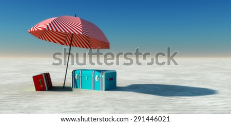 Sun and beach   landscape in 3d - stock photo