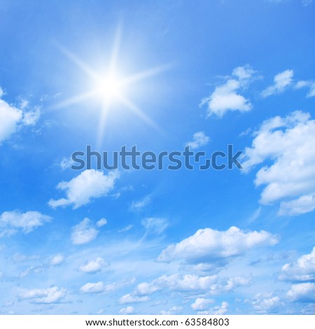 Sun and blue sky. - stock photo