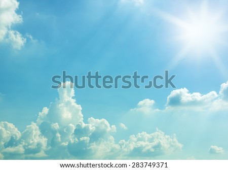 sun and blue sky for background textured - stock photo