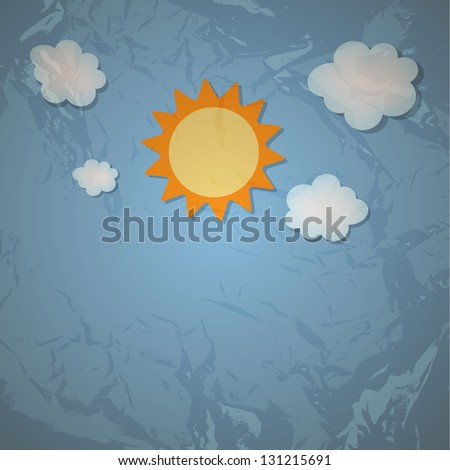 Sun and cloud retro grunge background  illustration