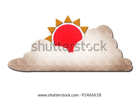 sun and cloud watercolor on white - stock photo