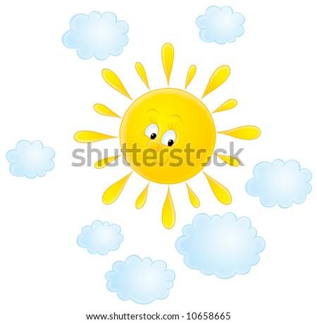 Cute Sun Cloud Says Hello Illustration Stock Illustration ...