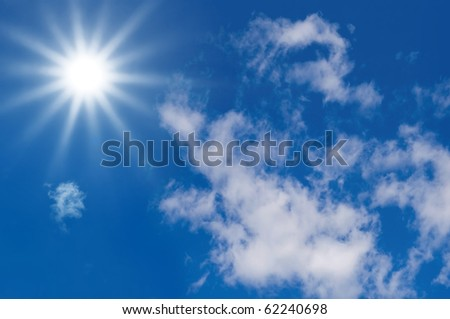 Sun and clouds. Blue sky for clean Energy