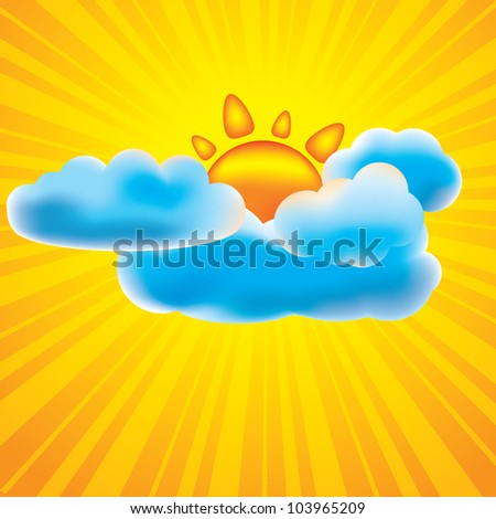 Sun and clouds design elements