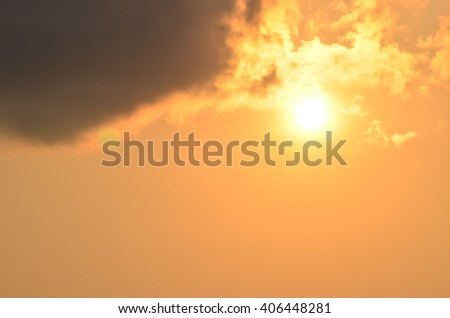 sun and clouds in evening