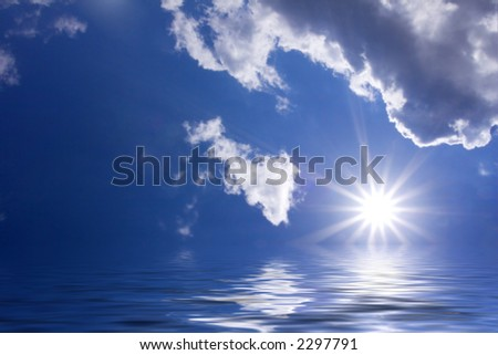 Sun and clouds over open water