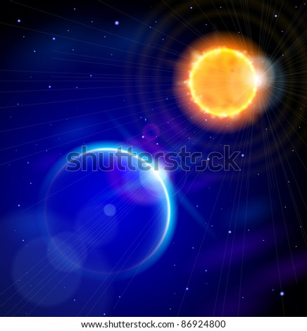 Sun and Earth in the depths of space. Bitmap copy my vector ID 72592840