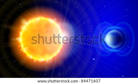 Sun and Earth in the depths of space. Scheme of solar radiation and electromagnetic field of the Earth. Bitmap copy my vector ID 74977123