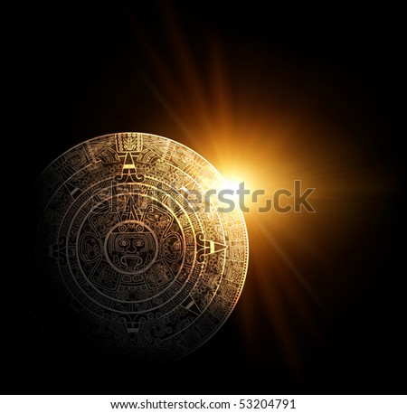 Sun and Maya calendar - stock photo