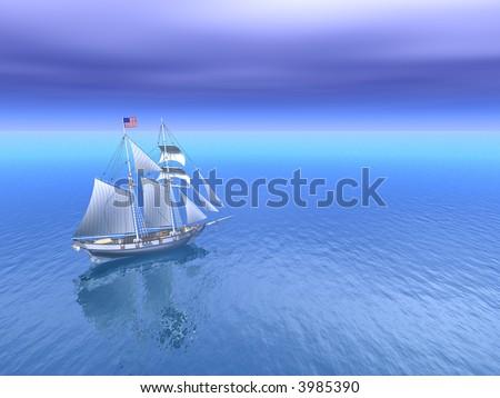 Sun and Open Sea with American Schooner - stock photo