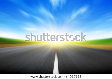 Sun and  road with motion blur . - stock photo