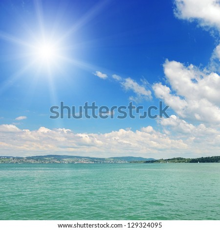 Sun and sea. seascape. - stock photo