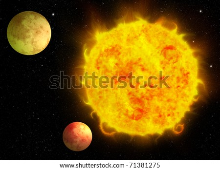 Sun and solar system - stock photo