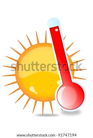 Sun and thermometer - stock photo