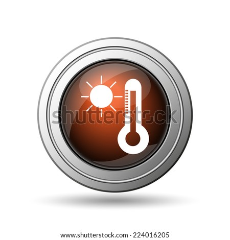 Sun and thermometer icon. Internet button on white background.  - stock photo