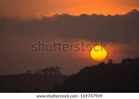 sun at twilight ,Khao Kho in Phetchabun , Thailand  - stock photo