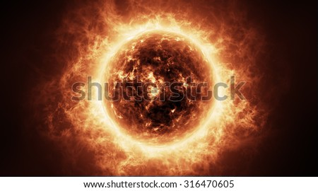 Sun atmosphere with solar flares. Elements of this image furnished by NASA  - stock photo