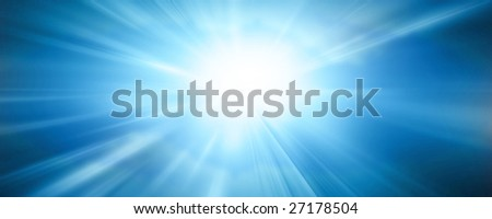 sun banner on a bright blue background