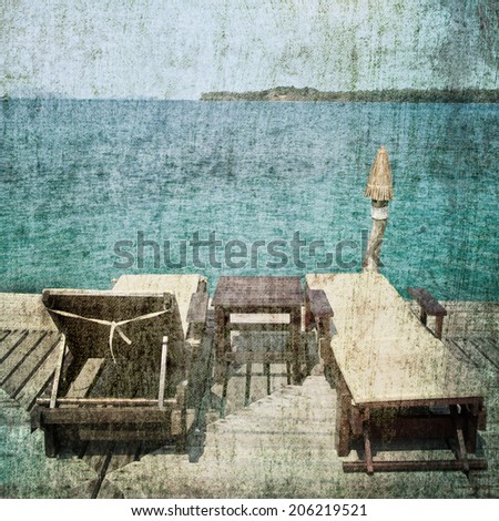 Sun beach chairs on retro style - stock photo