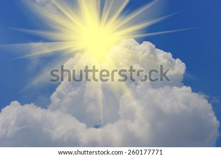 sun beam and sky-clouds backgrounds. - stock photo