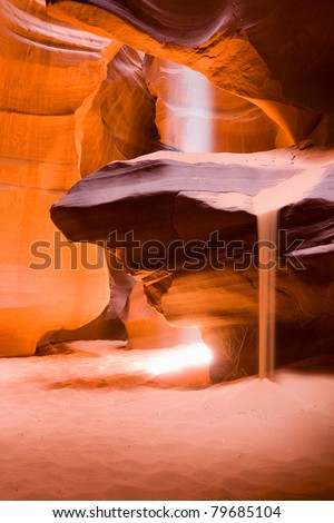 Sun beam in Antelope canyon, Arizona - stock photo