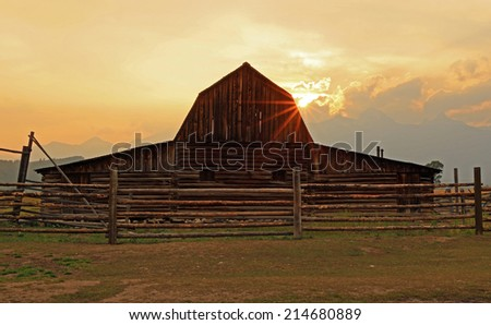 Sun Beams at the Moulton Barn, Grand Teton National Park, Wyoming, USA. - stock photo