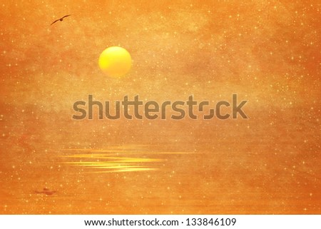 Sun,bird and reflection on the water on old paper background - stock photo