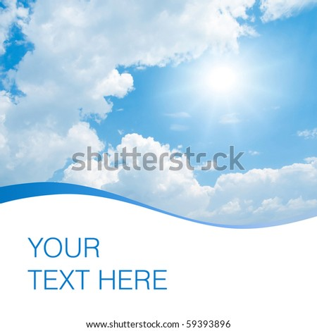 Sun, blue sky and white clouds with space for text. - stock photo