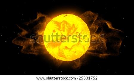 Sun burning - computer generated graphic - stock photo