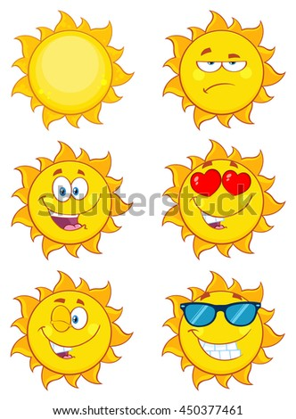 Sun Cartoon Mascot Characters. Set Raster Collection Isolated On White - stock photo