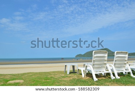 Sun chairs seen on a beach in Dolphin Bay and the area of Sam Roi Yod which  is one of Thailand�s most relaxed destinations
