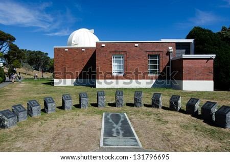 Sun clock at Wellington carter observatory in Wellington New Zealand. - stock photo