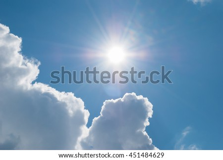 Sun comes out from under the clouds. Heavenly landscape.