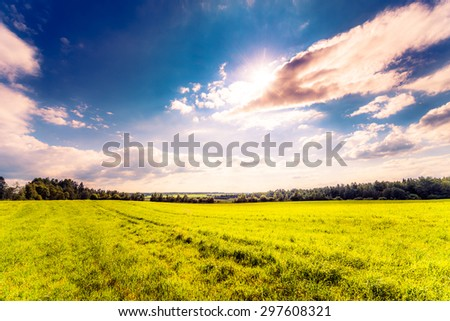 Sun comes out of cumulus clouds and illuminates a fields in the forest. Image in the soft orange-purple toning - stock photo