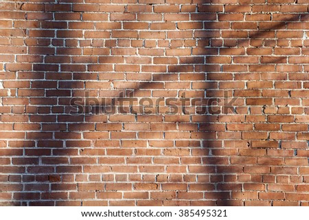 Sun creates tree shadows on the brick wall of an old factory