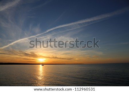 sun down at the Baltic Sea - stock photo