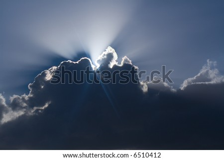 sun drawing water in the autumn - stock photo