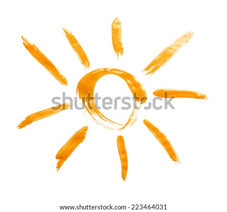Sun drawn with the oil paint isolated over the white background - stock photo