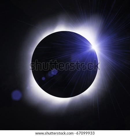 Sun eclipse with sun flare - stock photo