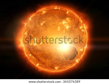 Sun exploding close to inhabited planet Earth and moon 'elements of this image furnished by NASA'
