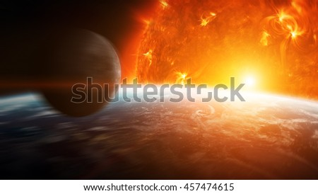 Sun exploding close to inhabited planets system '3D Rendering' 'elements of this image furnished by NASA'