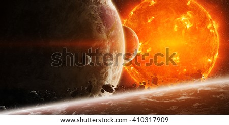 Sun exploding close to inhabited planets system 'elements of this image furnished by NASA' - stock photo