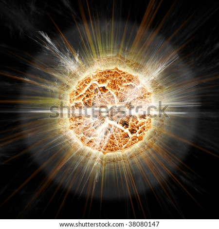 Sun explosion - Planet explosion - stock photo