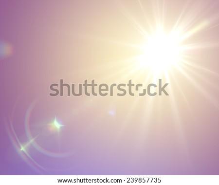 Sun flare in vintage retro style - stock photo