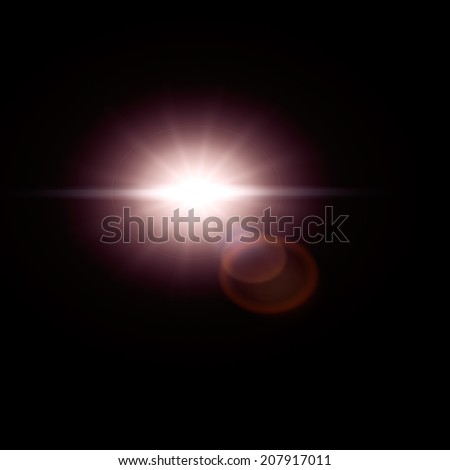 Sun flare, lens flare effect isolated on black background. Can be added to photos by overlaying in screen mode. - stock photo