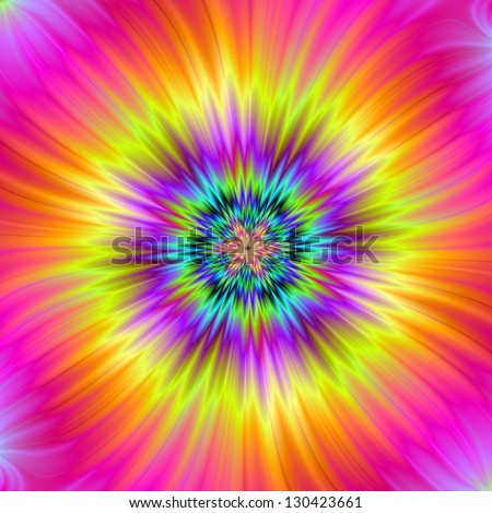 Sun Flower / Digital fractal abstract image with a circular design in yellow, pink, purple and green.
