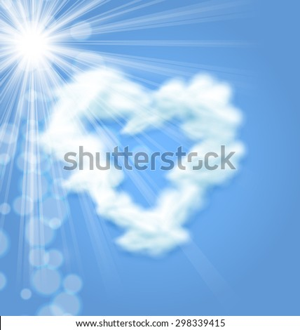 Sun Fluffy Cloud Shape Heart Love Symbol Blue Sky - raster