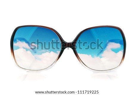 sun-glasses with the reflections of the sky isolated on a white - stock photo