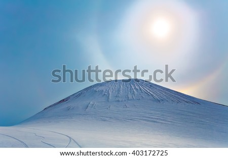 Sun halo at mountain, Kamchatka, Russia