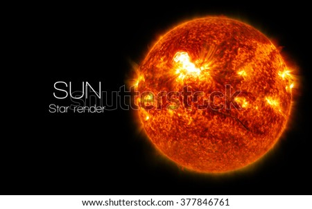 Sun - High resolution 3D images presents planets and star of the solar system. This image elements furnished by NASA. - stock photo
